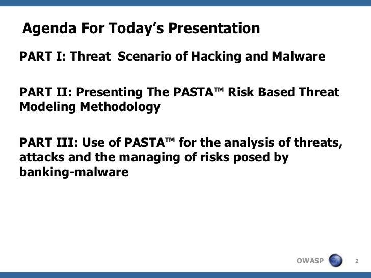 Agenda For Today's PresentationPART I: Threat Scenario of Hacking and MalwarePART II: Presenting The PASTA™ Risk Based Thr...