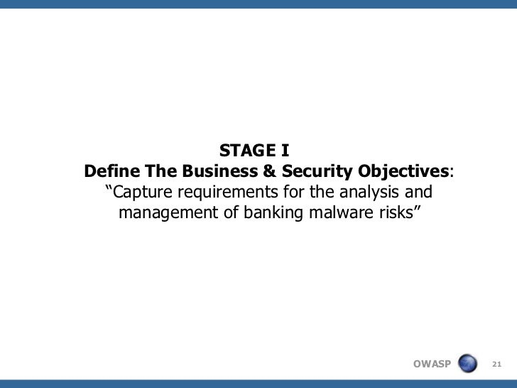 """STAGE IDefine The Business & Security Objectives:  """"Capture requirements for the analysis and    management of banking mal..."""