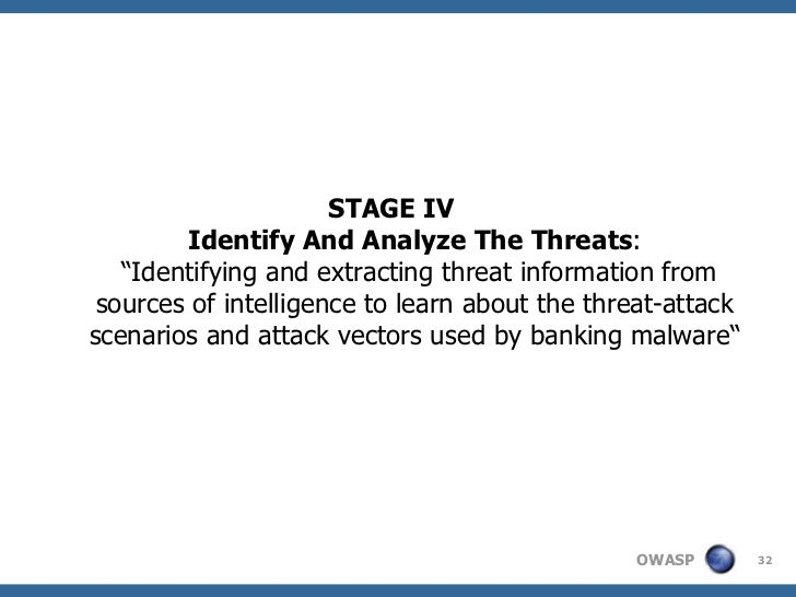 """STAGE IV        Identify And Analyze The Threats:   """"Identifying and extracting threat information from sources of intelli..."""