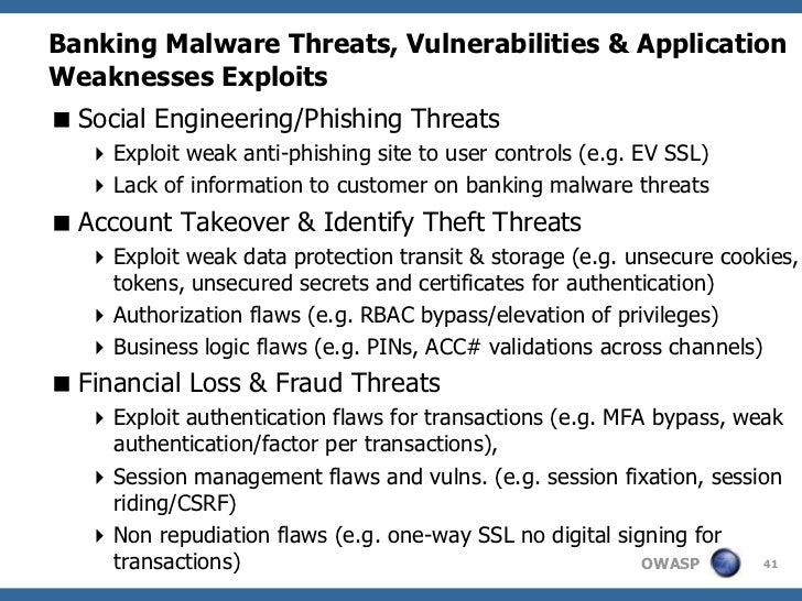 Banking Malware Threats, Vulnerabilities & ApplicationWeaknesses Exploits Social Engineering/Phishing Threats    Exploit...