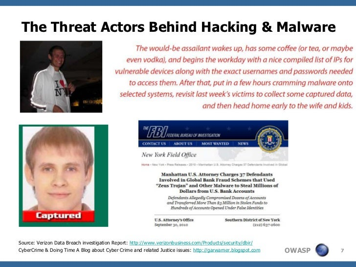 The Threat Actors Behind Hacking & MalwareSource: Verizon Data Breach investigation Report: http://www.verizonbusiness.com...