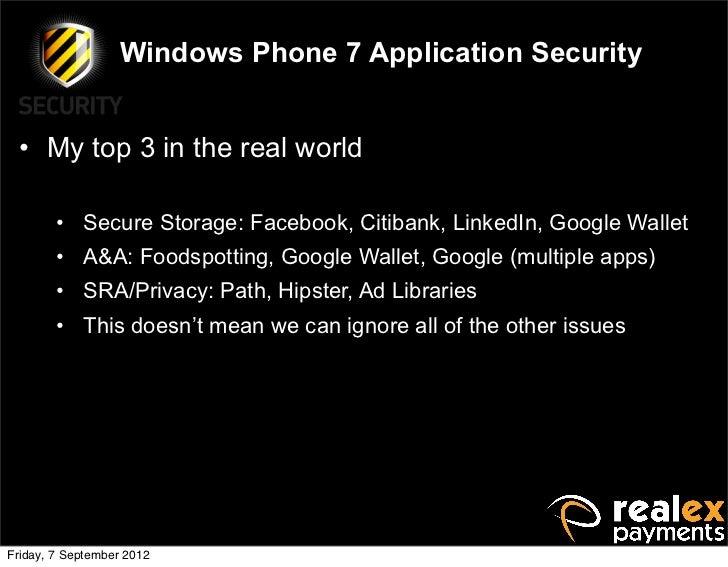 Owasp App Sec Ireland Windows Phone 7 Security
