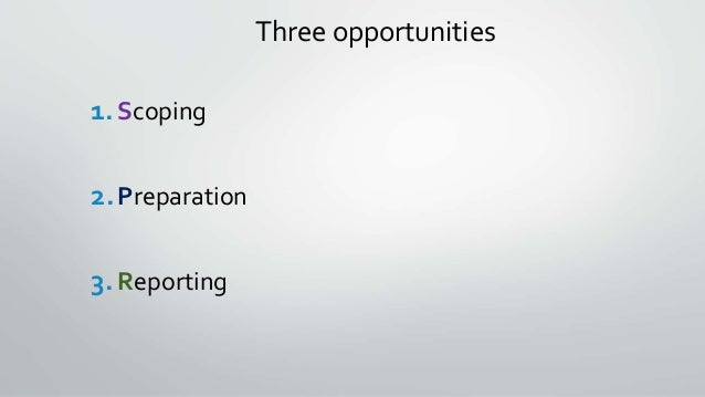 Three opportunities 1.Scoping 2.Preparation 3.Reporting