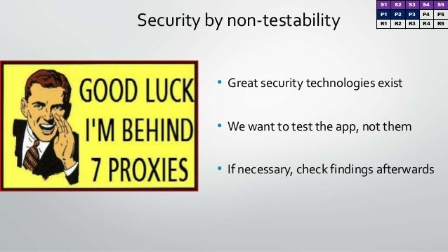 Security by non-testability • Great security technologies exist • We want to test the app, not them • If necessary, check ...