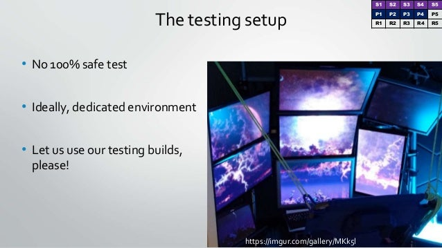 https://imgur.com/gallery/MKk5l The testing setup • No 100% safe test • Ideally, dedicated environment • Let us use our te...