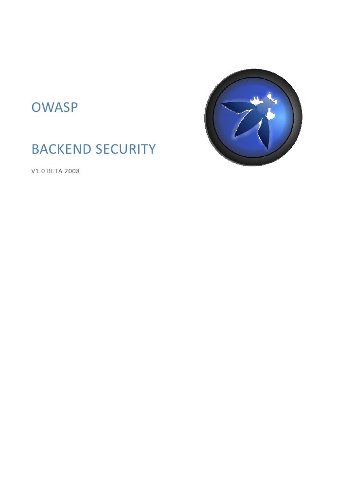 OWASP  BACKEND SECURITY V1.0 BETA 2008