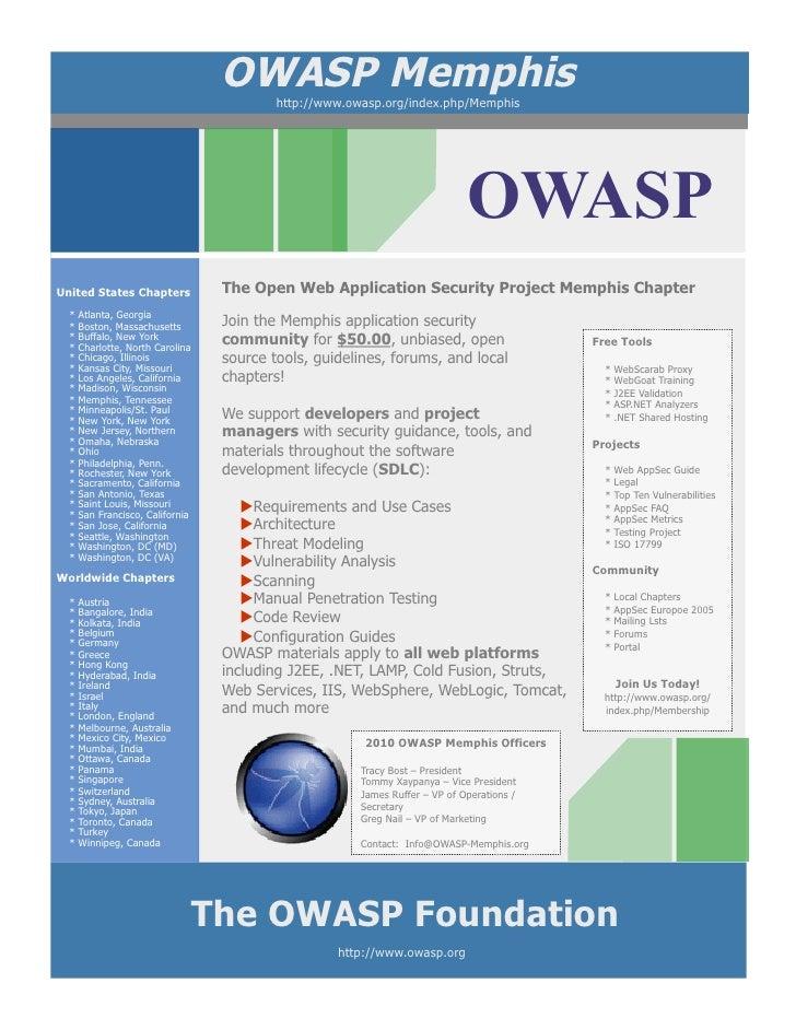 OWASP Memphis                                           http://www.owasp.org/index.php/Memphis                            ...