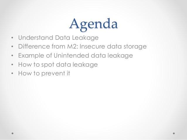 Owasp Mobile Risk Series : M4 : Unintended Data Leakage Slide 3