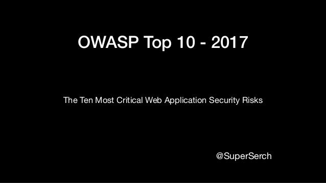 OWASP Top 10 - 2017