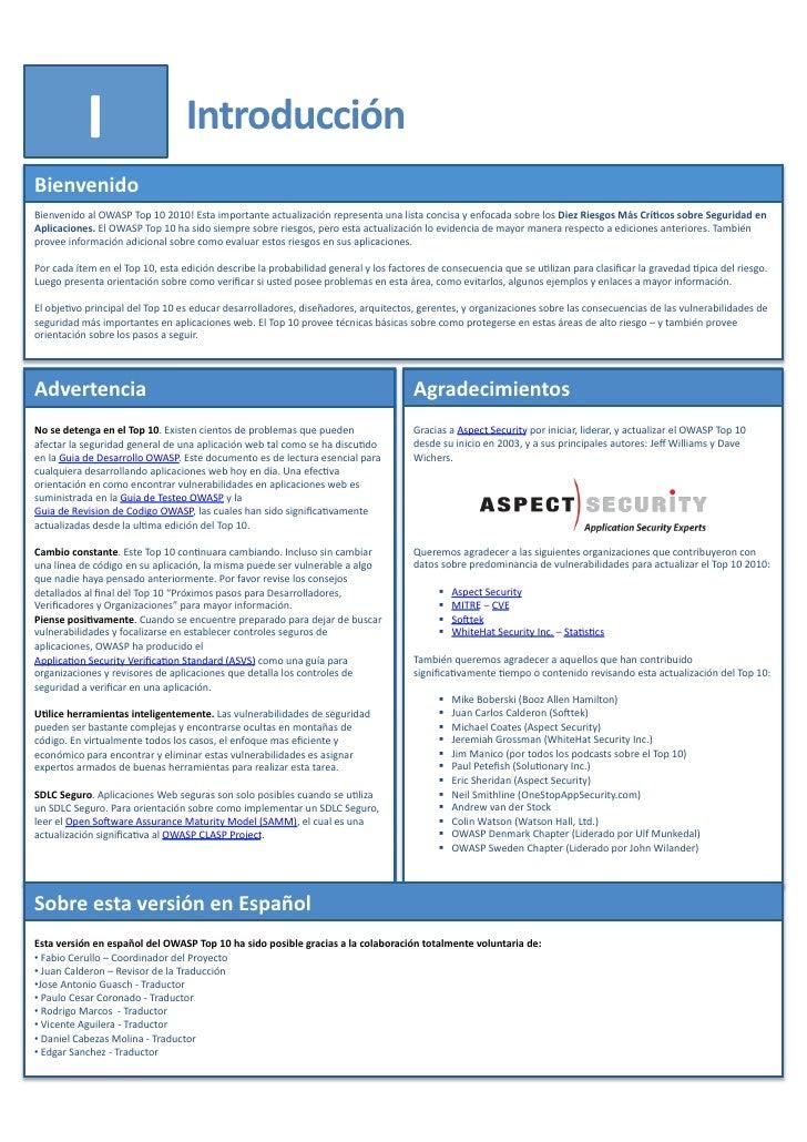 Owasp Internet Of Things Project: Owasp Top 10 2010 Final (spanish
