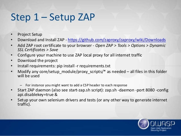 Scripts that automate OWASP ZAP as part of a continuous delivery pipe…