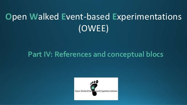 Part IV: References and conceptual blocs Open Walked Event-based Experimentations (OWEE)