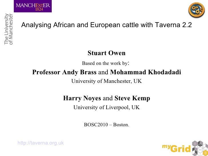 Analysing African and European cattle with Taverna 2.2 <ul><li>Stuart Owen </li></ul><ul><li>Based on the work by :  </li>...