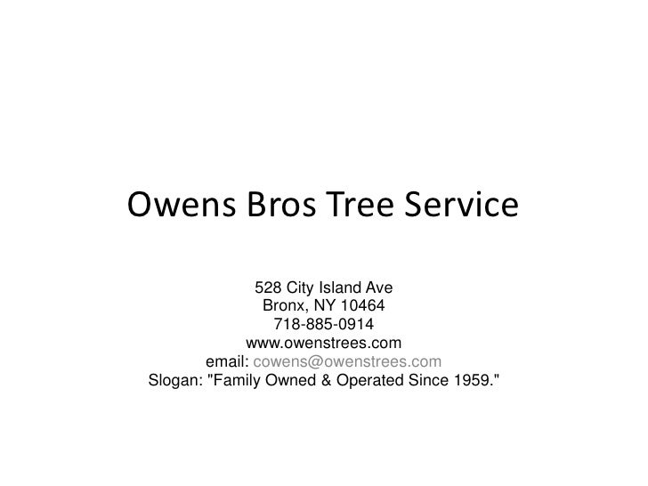 Owens Bros Tree Service<br />528 City Island Ave<br />Bronx, NY 10464<br />718-885-0914<br />www.owenstrees.com<br />email...