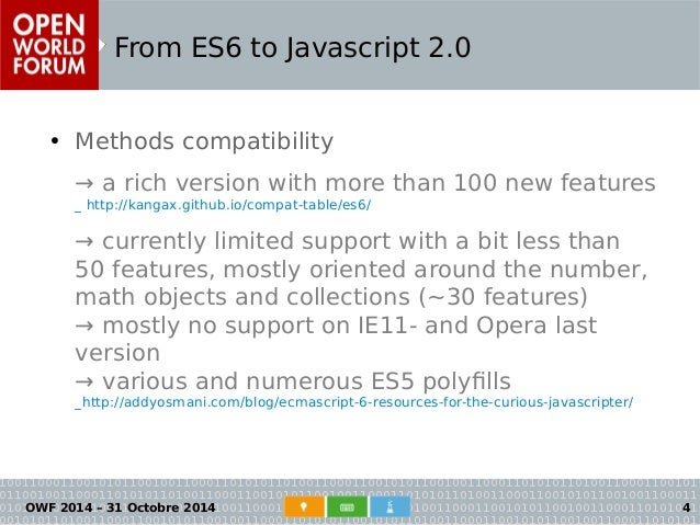 Open World Forum 2014 : From ES6 to Javascript 2 0  What use