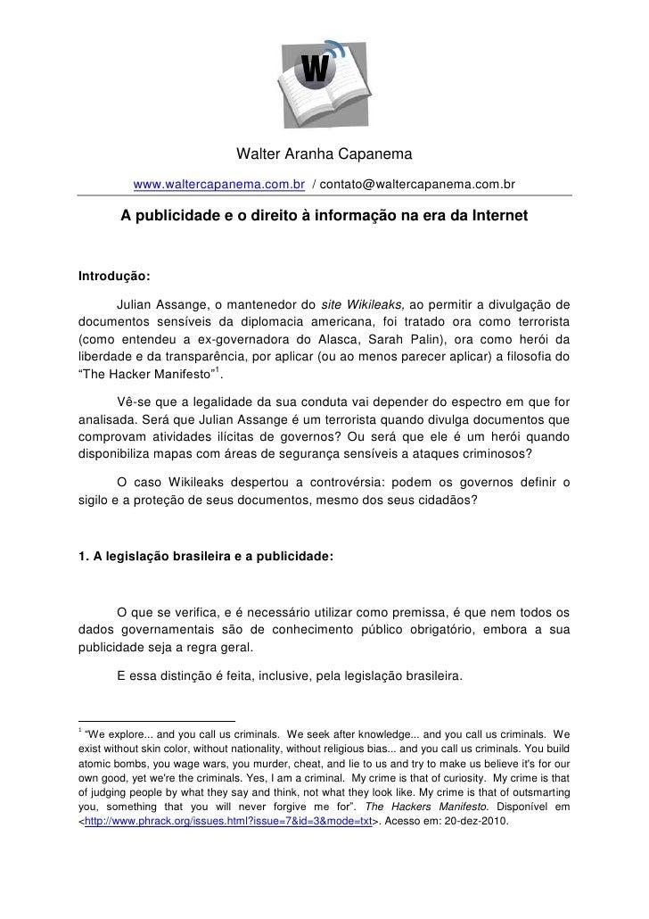 Walter Aranha Capanema            www.waltercapanema.com.br / contato@waltercapanema.com.br         A publicidade e o dire...