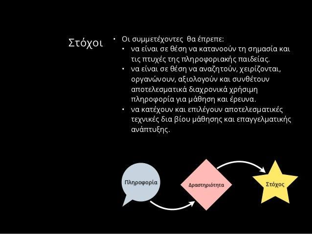 • Οι συμμετέχοντες θα έπρεπε:Στόχοι     • να είναι σε θέση να κατανοούν τη σημασία και              τις πτυχές της πληροφο...
