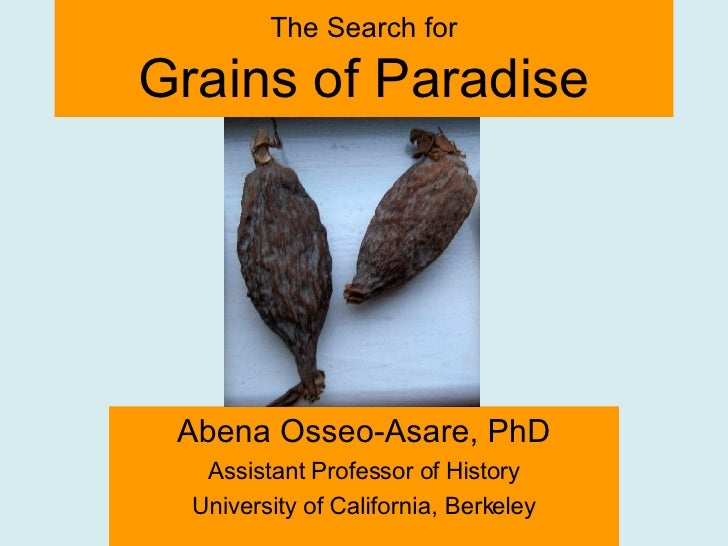 Abena Osseo-Asare, PhD Assistant Professor of History University of California, Berkeley The Search for Grains of Paradise