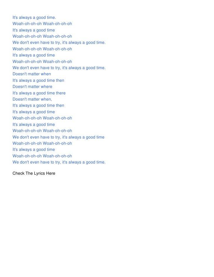 Owl City - Good Time Lyrics | MetroLyrics