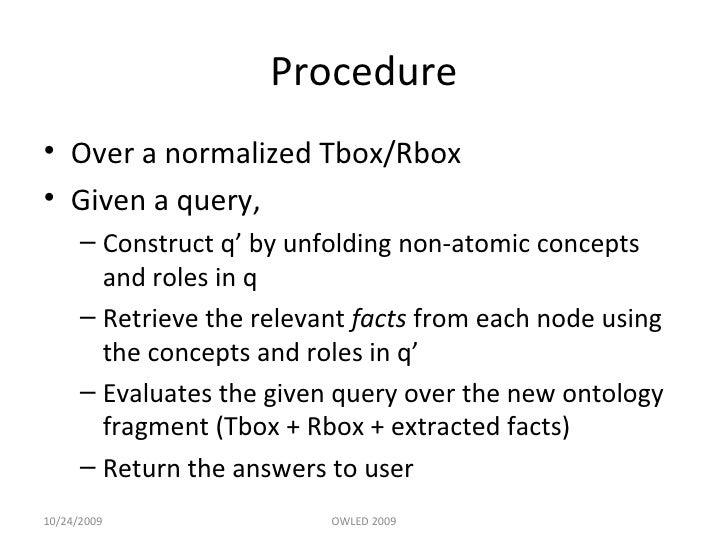 Procedure <ul><li>Over a normalized Tbox/Rbox  </li></ul><ul><li>Given a query, </li></ul><ul><ul><li>Construct q' by unfo...