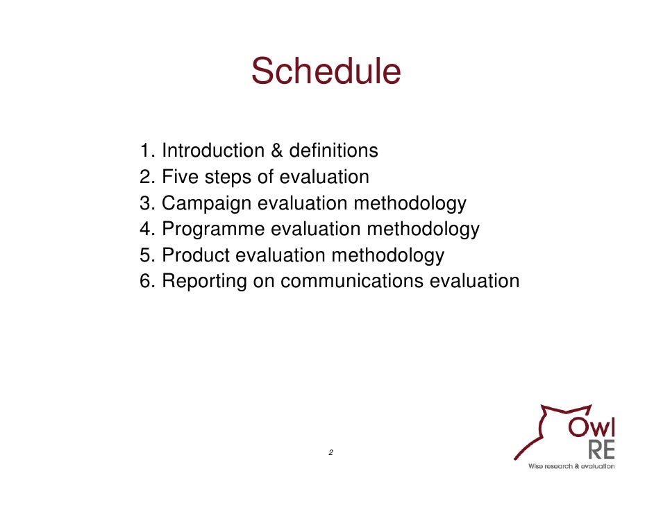 Evaluating Communication Programmes, Products and Campaigns: Training workshop Slide 2