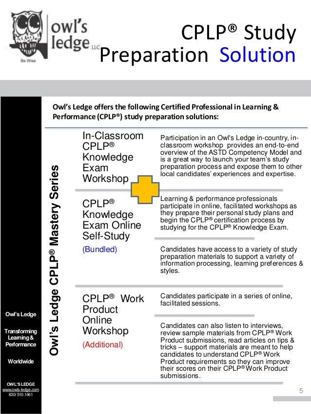 cplp astd certification owls mastery ledge preparation