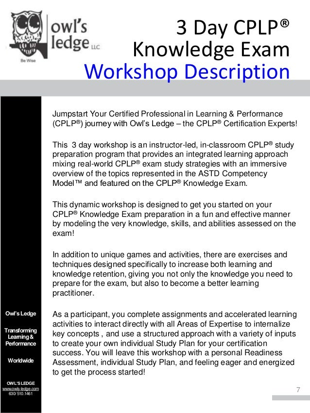 Astd Cplp Certification Preparation Owls Ledge Cplp Mastery Series