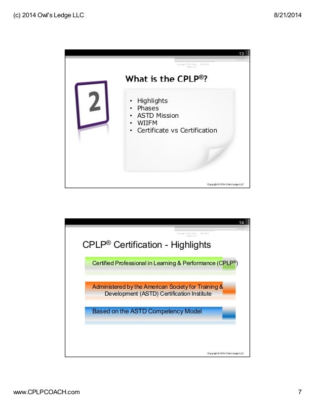 Certified Professional In Learning Performance Cplp 2014 Boot Cam