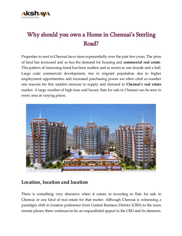 Why should you own a Home in Chennai's Sterling Road? Properties to rent in Chennai have risen exponentially over the past...