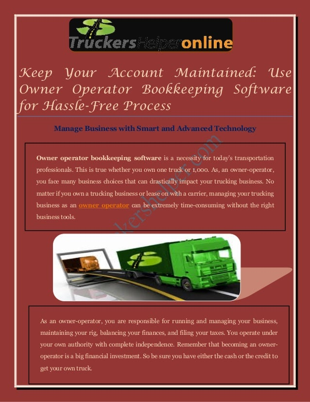 Easy Owner Operator Bookkeeping Software for Florida Truck Owners