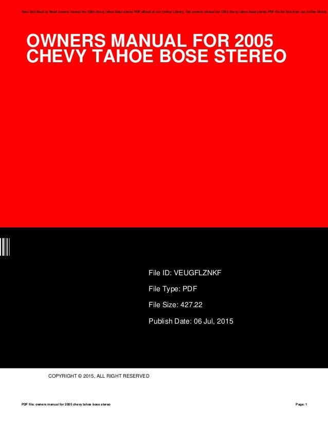 2005 chevy tahoe service manual pdf