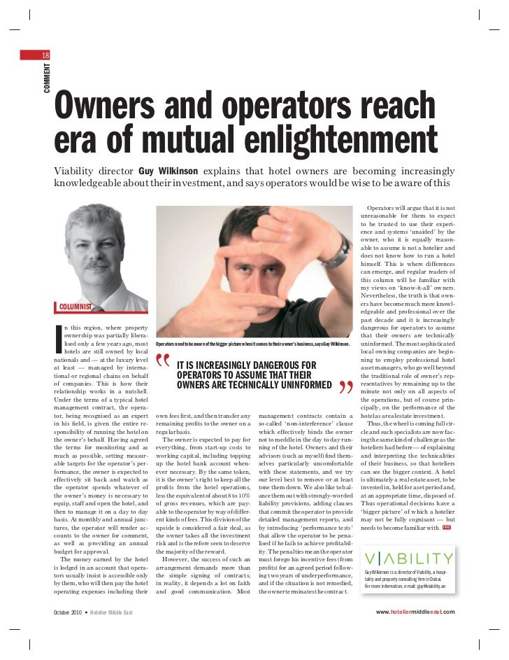 18COMMENT          Owners and operators reach          era of mutual enlightenment          Viability director Guy Wilkins...