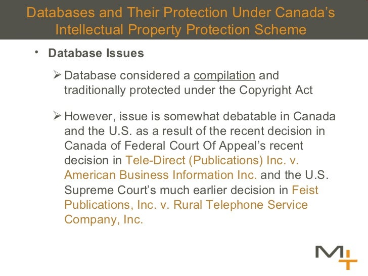 Databases and Their Protection Under Canada 's Intellectual Property Protection Scheme <ul><li>Database Issues </li></ul><...