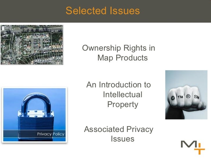 Selected  Issues   <ul><li>Ownership Rights in Map Products </li></ul><ul><li>An Introduction to Intellectual Property </l...