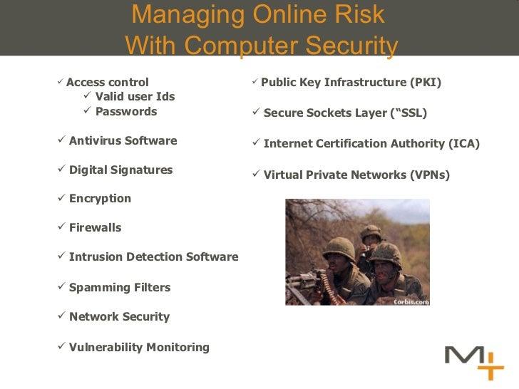 Managing Online Risk  With Computer Security <ul><li>Access control  </li></ul><ul><ul><li>Valid user Ids </li></ul></ul><...