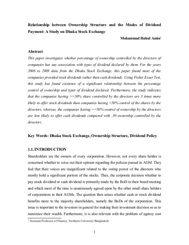 Dividend policy research paper master thesis on sustainable development