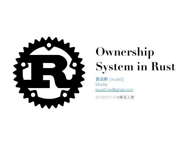 郭⾄至軒 [:kuoe0] Mozilla kuoe0.tw@gmail.com Ownership System in Rust 2016/07/12 @摩茲⼯工寮
