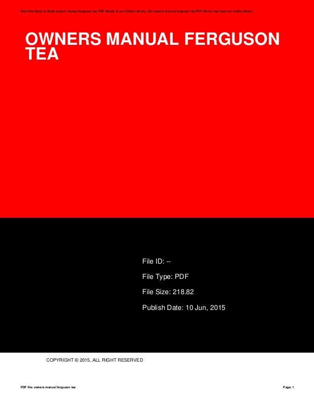 owners manual ferguson tea rh slideshare net Cartoon Manual Cartoon Manual
