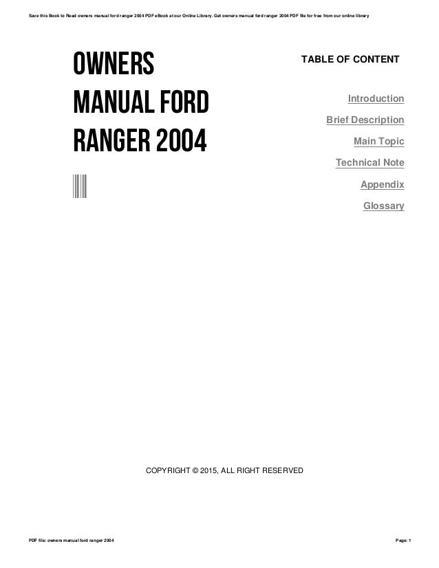 Ford Ranger Owners Manual 2004