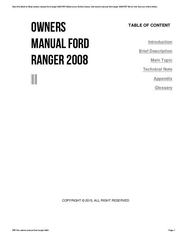 Ford Ranger 2008 Owners Manual
