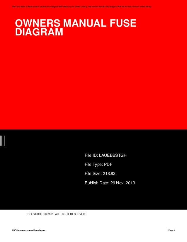 Owners Manual Fuse Diagram