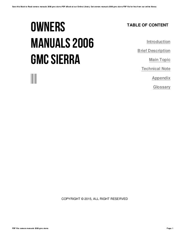 2006 GMC SIERRA OWNERS MANUAL PDF