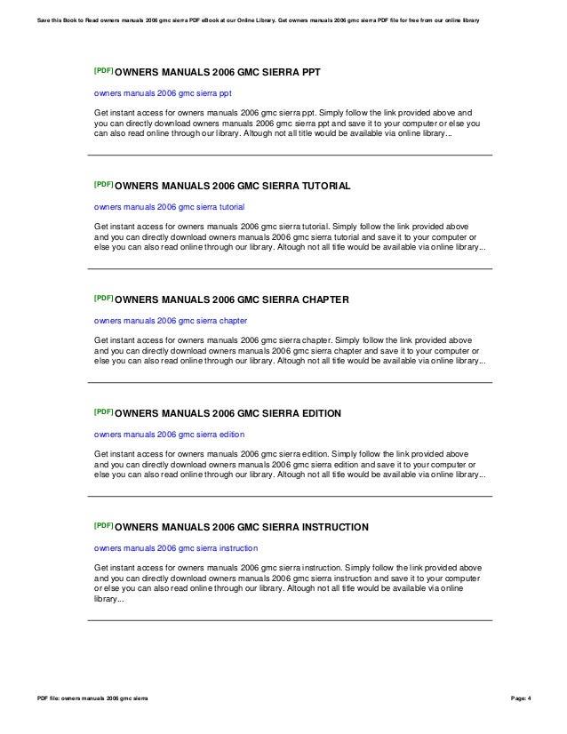 Manual for 2006 gmc sierra ebook array owners manuals 2006 gmc sierra rh slideshare net fandeluxe Image collections