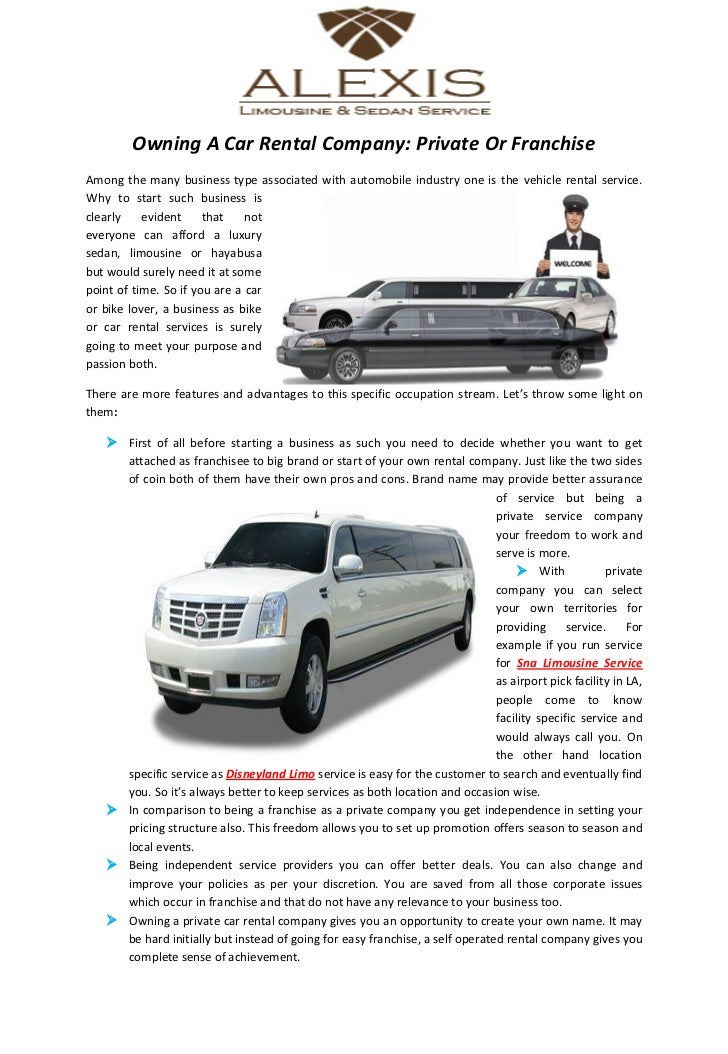 Owning A Car Rental Company Private Or Franchise