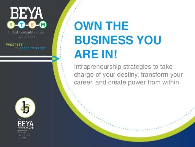 OWN THE BUSINESS YOU ARE IN! Intrapreneurship strategies to take charge of your destiny, transform your career, and create...