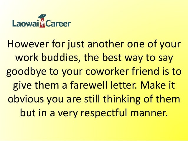 Farewell Letter To Coworker Sample Farewell Letters To Coworkers