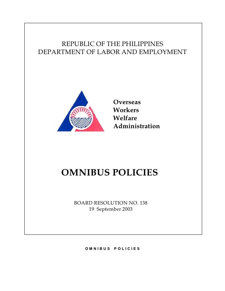 REPUBLIC OF THE PHILIPPINES DEPARTMENT OF LABOR AND EMPLOYMENT                          Overseas                      Work...