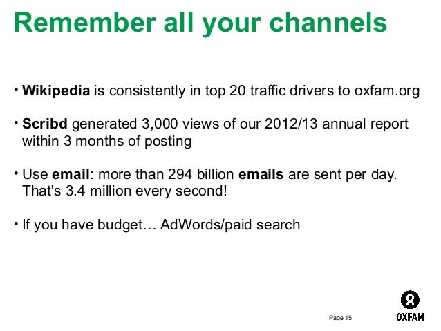 Remember all your channels • Wikipedia is consistently in top 20 traffic drivers to oxfam.org • Scribd generated 3,000 vie...