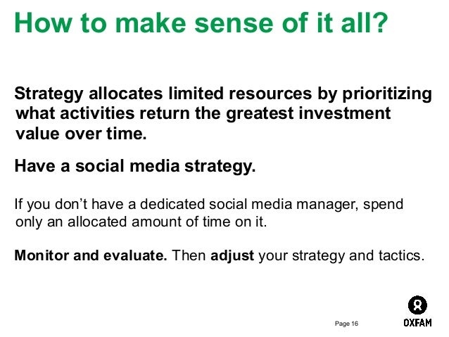 How to make sense of it all? Strategy allocates limited resources by prioritizing what activities return the greatest inve...