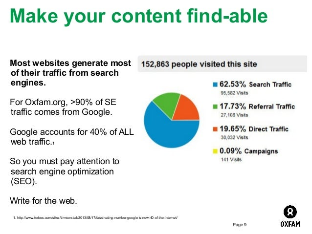 Make your content find-able Most websites generate most of their traffic from search engines. For Oxfam.org, >90% of SE tr...